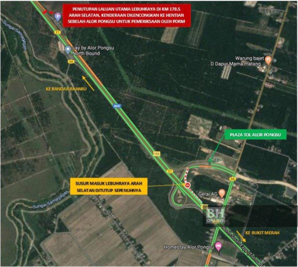 Gambar menunjukkan laluan yang ditutup menghala ke Hentian Sebelah Alor Pongsu.