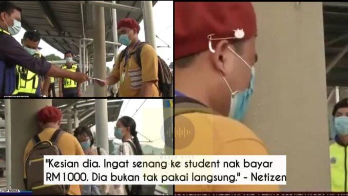 Remaja lelaki menangis kena saman sebab letak mask bawah dagu ...